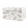 Floral Leaf Boy or Girl Small Fabric Toy Bin Storage Box Chest For Baby Nursery or Kids Room by Sweet Jojo Designs - Ivory Cream Beige Taupe and White Gender Neutral Boho Watercolor Botanical Flower Woodland Tropical Garden