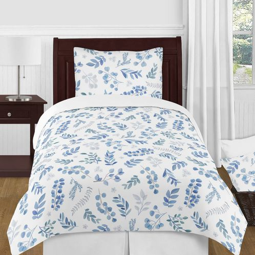 Floral Leaf Boy or Girl Twin Bedding Comforter Set Kids Childrens Size by Sweet Jojo Designs - 4 pieces - Blue Grey and White Boho Watercolor Botanical Flower Woodland Tropical Garden - Click to enlarge