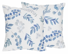 Floral Leaf Decorative Accent Throw Pillows by Sweet Jojo Designs - Set of 2 - Blue Grey and White Boho Watercolor Botanical Flower Woodland Tropical Garden