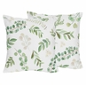 Floral Leaf Decorative Accent Throw Pillows by Sweet Jojo Designs - Set of 2 - Green and White Boho Watercolor Botanical Woodland Tropical Garden