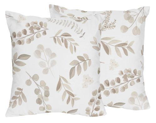 Floral Leaf Decorative Accent Throw Pillows by Sweet Jojo Designs - Set of 2 - Ivory Cream Beige Taupe and White Gender Neutral Boho Watercolor Botanical Flower Woodland Tropical Garden - Click to enlarge