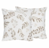 Floral Leaf Decorative Accent Throw Pillows by Sweet Jojo Designs - Set of 2 - Ivory Cream Beige Taupe and White Gender Neutral Boho Watercolor Botanical Flower Woodland Tropical Garden
