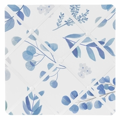 Floral Leaf Fabric Memory Memo Photo Bulletin Board by Sweet Jojo Designs - Blue Grey and White Boho Watercolor Botanical Flower Woodland Tropical Garden