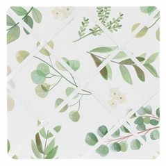 Floral Leaf Fabric Memory Memo Photo Bulletin Board by Sweet Jojo Designs - Green and White Boho Watercolor Botanical Woodland Tropical Garden
