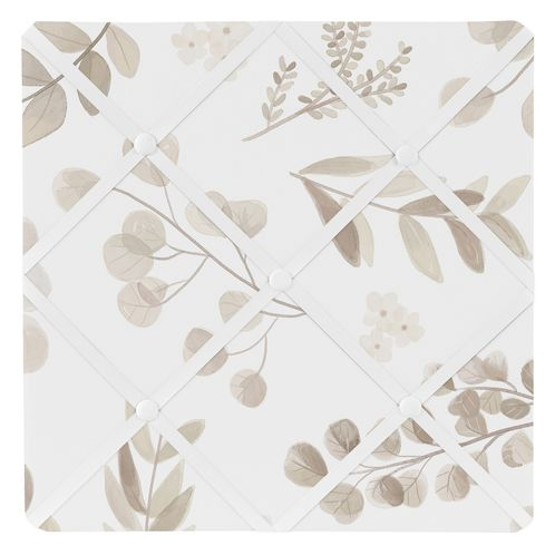 Floral Leaf Fabric Memory Memo Photo Bulletin Board by Sweet Jojo Designs - Ivory Cream Beige Taupe and White Gender Neutral Boho Watercolor Botanical Flower Woodland Tropical Garden - Click to enlarge