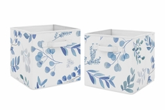 Floral Leaf Foldable Fabric Storage Cube Bins Boxes Organizer Toys Kids Baby Childrens by Sweet Jojo Designs - Set of 2 - Blue Grey and White Boho Watercolor Botanical Flower Woodland Tropical Garden