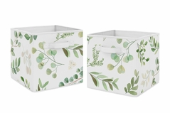Floral Leaf Foldable Fabric Storage Cube Bins Boxes Organizer Toys Kids Baby Childrens by Sweet Jojo Designs - Set of 2 - Green and White Boho Watercolor Botanical Woodland Tropical Garden