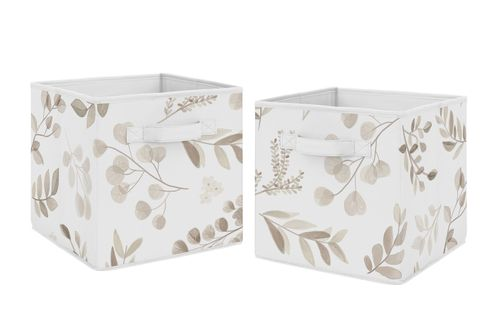 Floral Leaf Foldable Fabric Storage Cube Bins Boxes Organizer Toys Kids Baby Childrens by Sweet Jojo Designs - Set of 2 - Ivory Cream Beige Taupe and White Gender Neutral Boho Watercolor Botanical Flower Woodland Tropical Garden - Click to enlarge