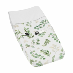 Floral Leaf Girl Baby Nursery Changing Pad Cover by Sweet Jojo Designs - Green and White Boho Watercolor Botanical Woodland Tropical Garden