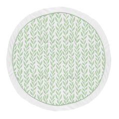Floral Leaf Girl Baby Playmat Tummy Time Infant Play Mat by Sweet Jojo Designs - Green and White Boho Farmhouse