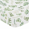 Floral Leaf Girl Fitted Crib Sheet Baby or Toddler Bed Nursery by Sweet Jojo Designs - Green and White Boho Watercolor Botanical Woodland Tropical Garden