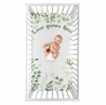 Floral Leaf Girl Fitted Crib Sheet Baby or Toddler Bed Nursery Photo Op by Sweet Jojo Designs - Green and White Boho Watercolor Botanical Woodland Tropical Garden Love Grows Here