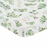 Floral Leaf Girl Fitted Mini Crib Sheet Baby Nursery by Sweet Jojo Designs For Portable Crib or Pack and Play - Green and White Boho Watercolor Botanical Woodland Tropical Garden