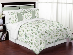 Floral Leaf Girl Full / Queen Bedding Comforter Set Kids Childrens Size by Sweet Jojo Designs - 3 pieces - Green and White Boho Watercolor Botanical Woodland Tropical Garden