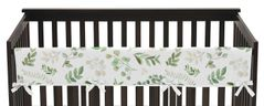 Floral Leaf Girl Long Front Crib Rail Guard Baby Teething Cover Protector Wrap by Sweet Jojo Designs - Green and White Boho Watercolor Botanical Woodland Tropical Garden