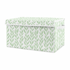 Floral Leaf Girl Small Fabric Toy Bin Storage Box Chest For Baby Nursery or Kids Room by Sweet Jojo Designs - Green and White Boho Farmhouse for the Yellow Sunflower Collection