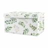 Floral Leaf Girl Small Fabric Toy Bin Storage Box Chest For Baby Nursery or Kids Room by Sweet Jojo Designs - Green and White Boho Watercolor Botanical Woodland Tropical Garden