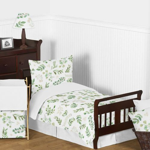 Floral Leaf Girl Toddler Kid Childrens Comforter Bedding Set by Sweet Jojo Designs - 5 pieces Comforter, Sham and Sheets - Green and White Boho Watercolor Botanical Woodland Tropical Garden - Click to enlarge