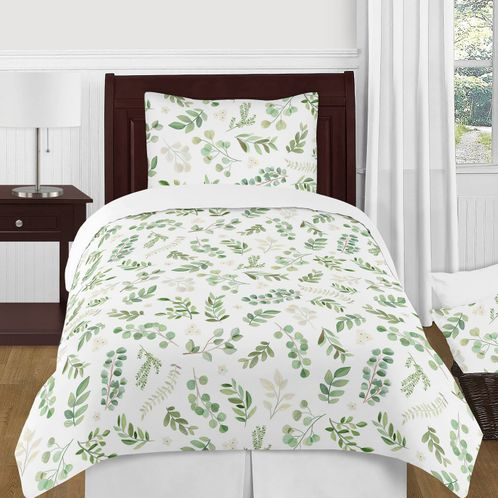 Floral Leaf Girl Twin Bedding Comforter Set Kids Childrens Size by Sweet Jojo Designs - 4 pieces - Green and White Boho Watercolor Botanical Woodland Tropical Garden - Click to enlarge