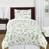 Floral Leaf Girl Twin Bedding Comforter Set Kids Childrens Size by Sweet Jojo Designs - 4 pieces - Green and White Boho Watercolor Botanical Woodland Tropical Garden