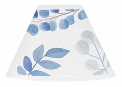 Floral Leaf Lamp Shade by Sweet Jojo Designs - Blue Grey and White Boho Watercolor Botanical Flower Woodland Tropical Garden