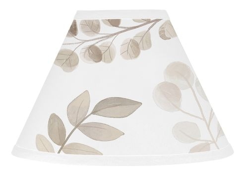 Floral Leaf Lamp Shade by Sweet Jojo Designs - Ivory Cream Beige Taupe and White Gender Neutral Boho Watercolor Botanical Flower Woodland Tropical Garden - Click to enlarge