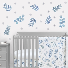 Floral Leaf Large Peel and Stick Wall Decal Stickers Art Nursery Decor Mural by Sweet Jojo Designs - Set of 4 Sheets - Blue Grey and White Boho Watercolor Botanical Flower Woodland Tropical Garden Leaves