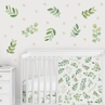 Floral Leaf Large Peel and Stick Wall Decal Stickers Art Nursery Decor Mural by Sweet Jojo Designs - Set of 4 Sheets - Green and White Boho Watercolor Botanical Woodland Tropical Garden Bohemian Leaves