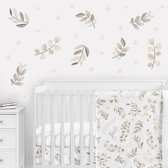 Floral Leaf Peel and Stick Wall Decal Stickers Art Nursery Decor by Sweet Jojo Designs - Set of 4 Sheets - Ivory Cream Beige Taupe and White Gender Neutral Boho Watercolor Botanical Flower Woodland Tropical Garden