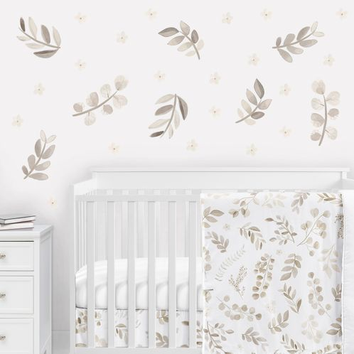Floral Leaf Peel and Stick Wall Decal Stickers Art Nursery Decor by Sweet Jojo Designs - Set of 4 Sheets - Ivory Cream Beige Taupe and White Gender Neutral Boho Watercolor Botanical Flower Woodland Tropical Garden - Click to enlarge