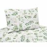 Floral Leaf Queen Sheet Set by Sweet Jojo Designs - 4 piece set - Green and White Boho Watercolor Botanical Woodland Tropical Garden