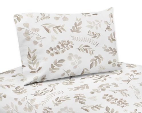 Floral Leaf Queen Sheet Set by Sweet Jojo Designs - 4 piece set - Ivory Cream Beige Taupe and White Gender Neutral Boho Watercolor Botanical Flower Woodland Tropical Garden - Click to enlarge