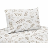Floral Leaf Queen Sheet Set by Sweet Jojo Designs - 4 piece set - Ivory Cream Beige Taupe and White Gender Neutral Boho Watercolor Botanical Flower Woodland Tropical Garden