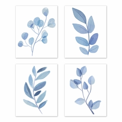 Floral Leaf Wall Art Prints Room Decor for Baby, Nursery, and Kids by Sweet Jojo Designs - Set of 4 - Blue Grey and White Boho Watercolor Botanical Woodland Tropical Garden Single Flower