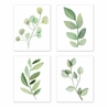 Floral Leaf Wall Art Prints Room Decor for Baby, Nursery, and Kids by Sweet Jojo Designs - Set of 4 - Green and White Boho Watercolor Botanical Woodland Tropical Garden Single Flower