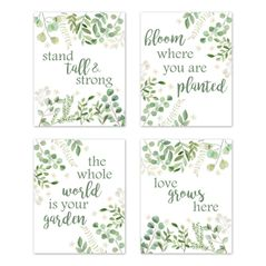 Floral Leaf Wall Art Prints Room Decor for Baby, Nursery, and Kids by Sweet Jojo Designs - Set of 4 - Green and White Boho Watercolor Floral Leaf Botanical Woodland Tropical Garden