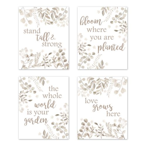 Floral Leaf Wall Art Prints Room Decor for Baby, Nursery, and Kids by Sweet Jojo Designs - Set of 4 - Ivory Cream Beige Taupe and White Gender Neutral Boho Watercolor Botanical Woodland Tropical Garden - Click to enlarge