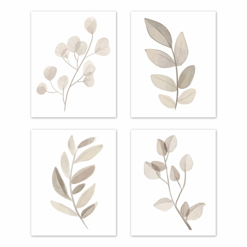 Floral Leaf Wall Art Prints Room Decor for Baby, Nursery, and Kids by Sweet Jojo Designs - Set of 4 - Ivory Cream Beige Taupe and White Gender Neutral Boho Watercolor Botanical Woodland Tropical Single Flower - Click to enlarge