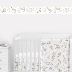 Floral Leaf Wallpaper Wall Border by Sweet Jojo Designs - Ivory Cream Beige Taupe and White Gender Neutral Boho Watercolor Botanical Flower Woodland Tropical Garden