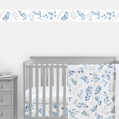 Floral Leaf Wallpaper Wall Border Mural by Sweet Jojo Designs - Blue Grey and White Boho Watercolor Botanical Flower Woodland Tropical Garden Leaves