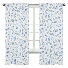 Floral Leaf Window Treatment Panels Curtains by Sweet Jojo Designs - Set of 2 - Blue Grey and White Boho Watercolor Botanical Flower Woodland Tropical Garden