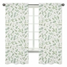 Floral Leaf Window Treatment Panels Curtains by Sweet Jojo Designs - Set of 2 - Green and White Boho Watercolor Botanical Woodland Tropical Garden