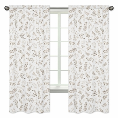 Floral Leaf Window Treatment Panels Curtains by Sweet Jojo Designs - Set of 2 - Ivory Cream Beige Taupe and White Gender Neutral Boho Watercolor Botanical Flower Woodland Tropical Garden