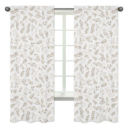 Floral Leaf Window Treatment Panels Curtains by Sweet Jojo Designs - Set of 2 - Ivory Cream Beige Taupe and White Gender Neutral Boho Watercolor Botanical Flower Woodland Tropical Garden - Click to enlarge