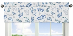 Floral Leaf Window Treatment Valance by Sweet Jojo Designs - Blue Grey and White Boho Watercolor Botanical Flower Woodland Tropical Garden
