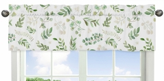 Floral Leaf Window Treatment Valance by Sweet Jojo Designs - Green and White Boho Watercolor Botanical Woodland Tropical Garden