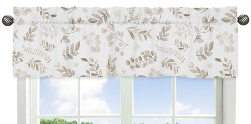 Floral Leaf Window Treatment Valance by Sweet Jojo Designs - Ivory Cream Beige Taupe and White Gender Neutral Boho Watercolor Botanical Flower Woodland Tropical Garden - Click to enlarge
