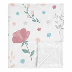 Floral Rose Flowers Baby Girl Blanket Receiving Security Swaddle for Newborn or Toddler Nursery Car Seat Stroller Soft Minky by Sweet Jojo Designs - Blush Pink Teal Turquoise Aqua Blue Grey Pop Flower Boho Shabby Chic Modern Colorful Watercolor Wildflower Roses Leaf Daisy Tulip