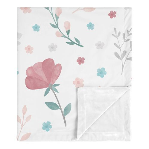 Floral Rose Flowers Baby Girl Blanket Receiving Security Swaddle for Newborn or Toddler Nursery Car Seat Stroller Soft Minky by Sweet Jojo Designs - Blush Pink Teal Turquoise Aqua Blue Grey Pop Flower Boho Shabby Chic Modern Colorful Watercolor Wildflower Roses Leaf Daisy Tulip - Click to enlarge