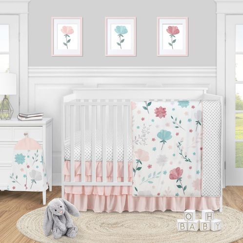 Floral Rose Flowers Baby Girl Nursery Crib Bedding Set by Sweet Jojo Designs - 4 pieces - Blush Pink Teal Turquoise Aqua Blue Grey Pop Flower Boho Shabby Chic Modern Colorful Watercolor Wildflower Roses Leaf Daisy Tulip Polka Dot - Click to enlarge